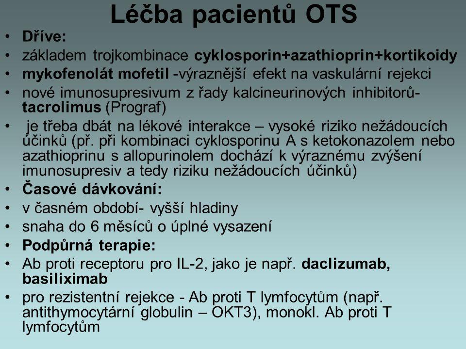 Léčba pacientů OTS Dříve: základem trojkombinace cyklosporin+azathioprin+kortikoidy mykofenolát mofetil -výraznější efekt na vaskulární rejekci nové i
