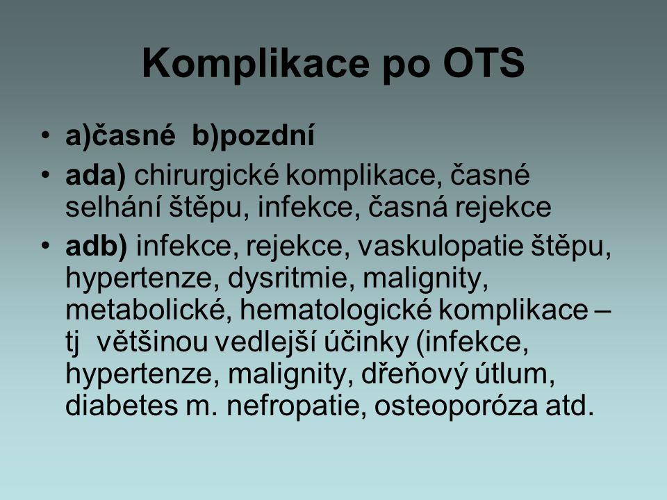 Komplikace po OTS a)časné b)pozdní ada) chirurgické komplikace, časné selhání štěpu, infekce, časná rejekce adb) infekce, rejekce, vaskulopatie štěpu,