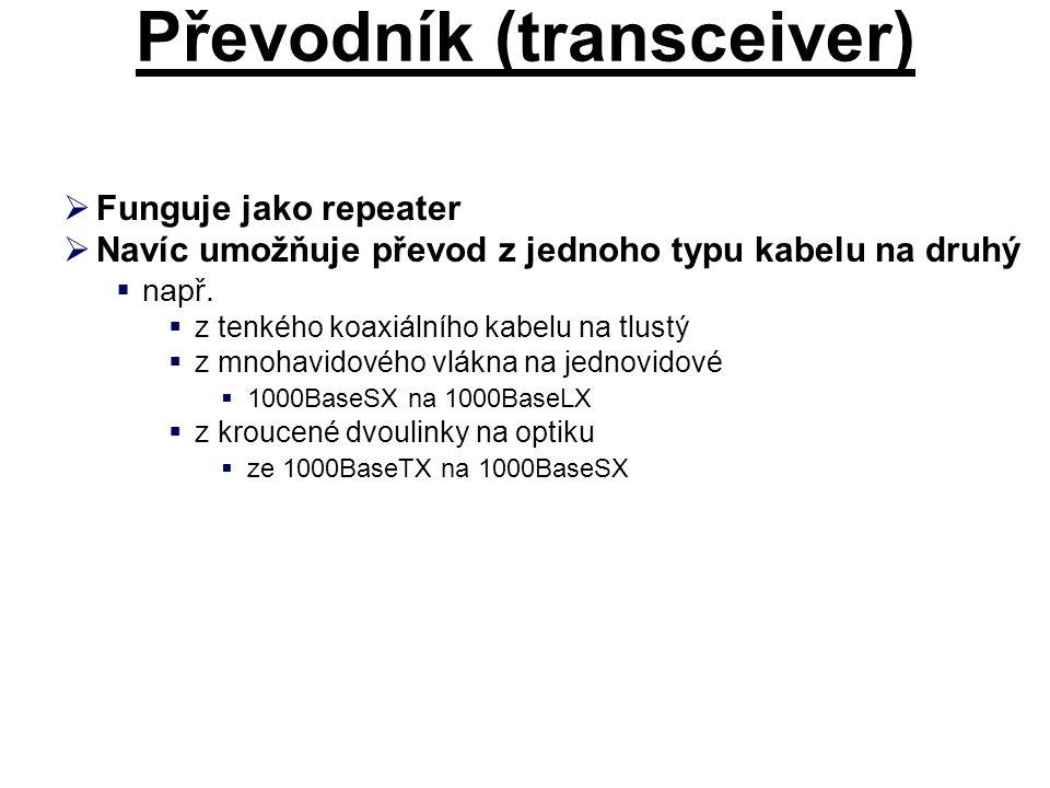 Převodník (transceiver)  Funguje jako repeater  Navíc umožňuje převod z jednoho typu kabelu na druhý  např.  z tenkého koaxiálního kabelu na tlust