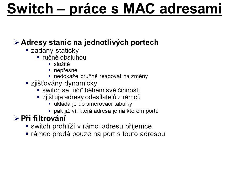 Switch – práce s MAC adresami  Adresy stanic na jednotlivých portech  zadány staticky  ručně obsluhou  složité  nepřesné  nedokáže pružně reagov