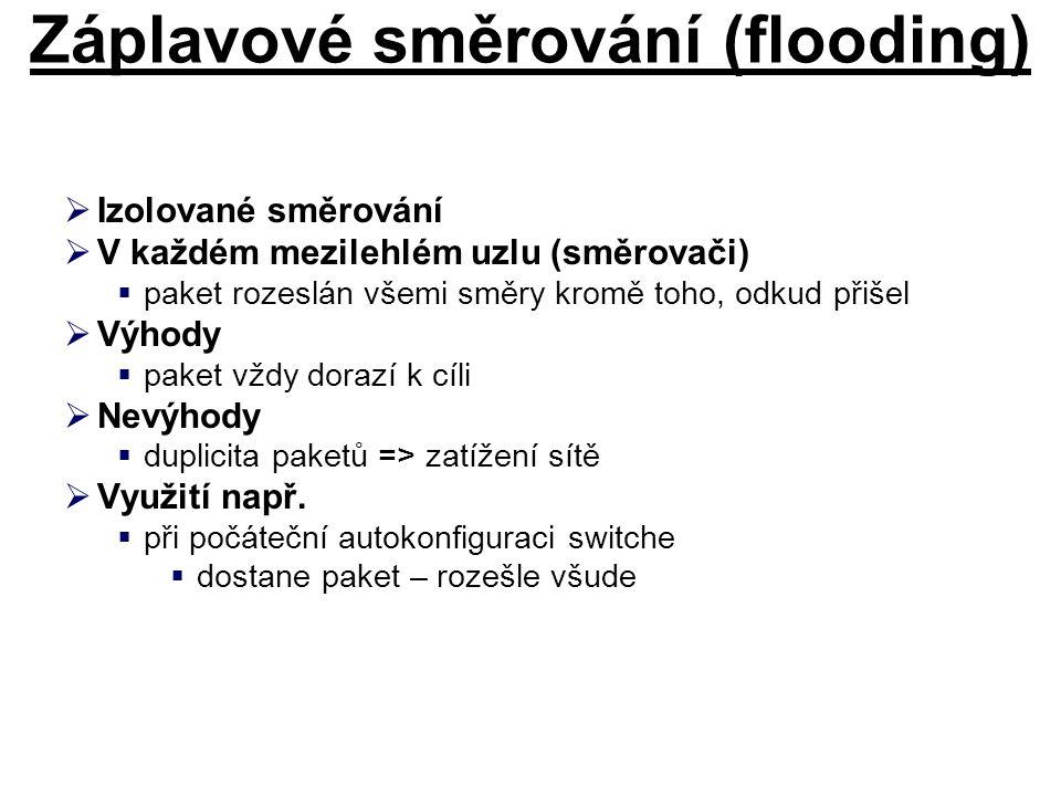 Záplavové směrování (flooding)  Izolované směrování  V každém mezilehlém uzlu (směrovači)  paket rozeslán všemi směry kromě toho, odkud přišel  Vý