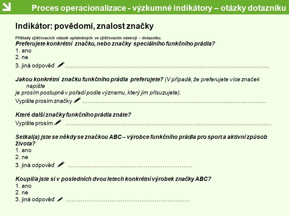 Proces operacionalizace - výzkumné indikátory – otázky dotazníku Indikátor: povědomí, znalost značky Příklady zjišťovacích otázek uplatněných ve zjišť