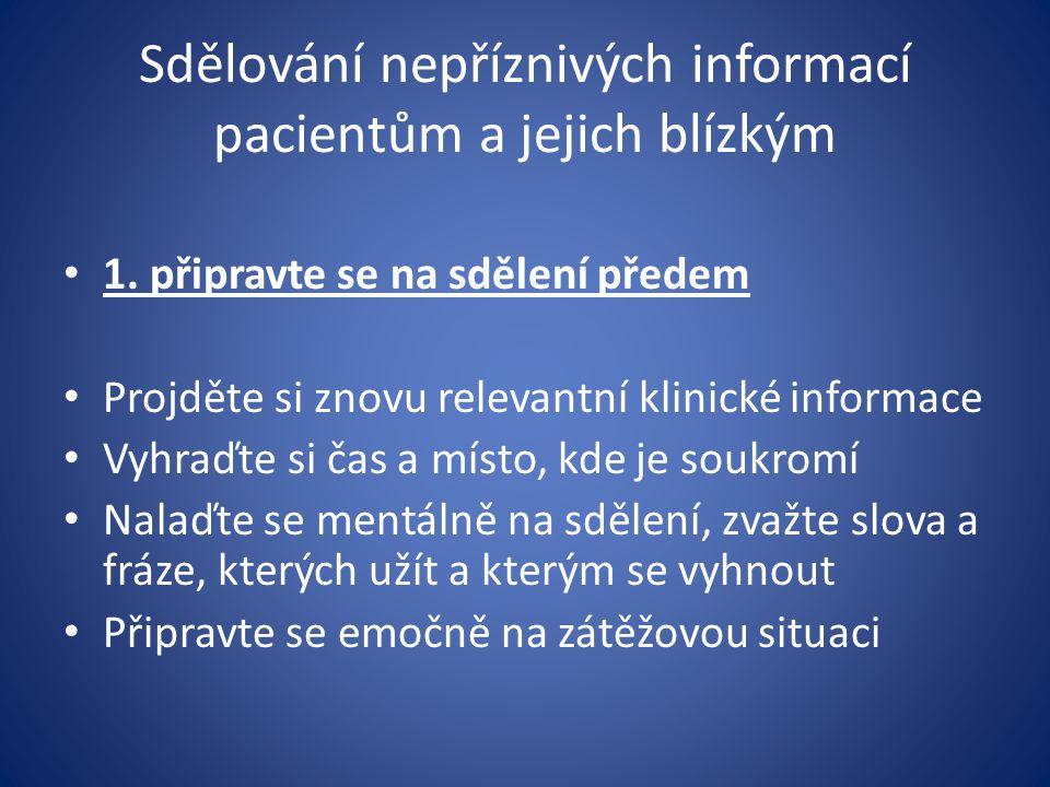 Sdělování nepříznivých informací pacientům a jejich blízkým 1. připravte se na sdělení předem Projděte si znovu relevantní klinické informace Vyhraďte