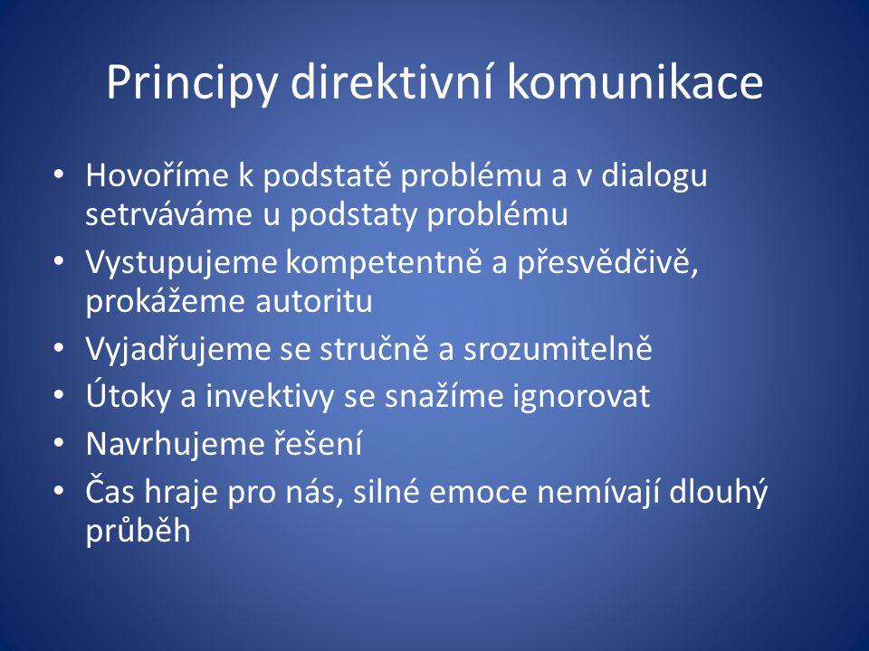 Principy direktivní komunikace Hovoříme k podstatě problému a v dialogu setrváváme u podstaty problému Vystupujeme kompetentně a přesvědčivě, prokážem