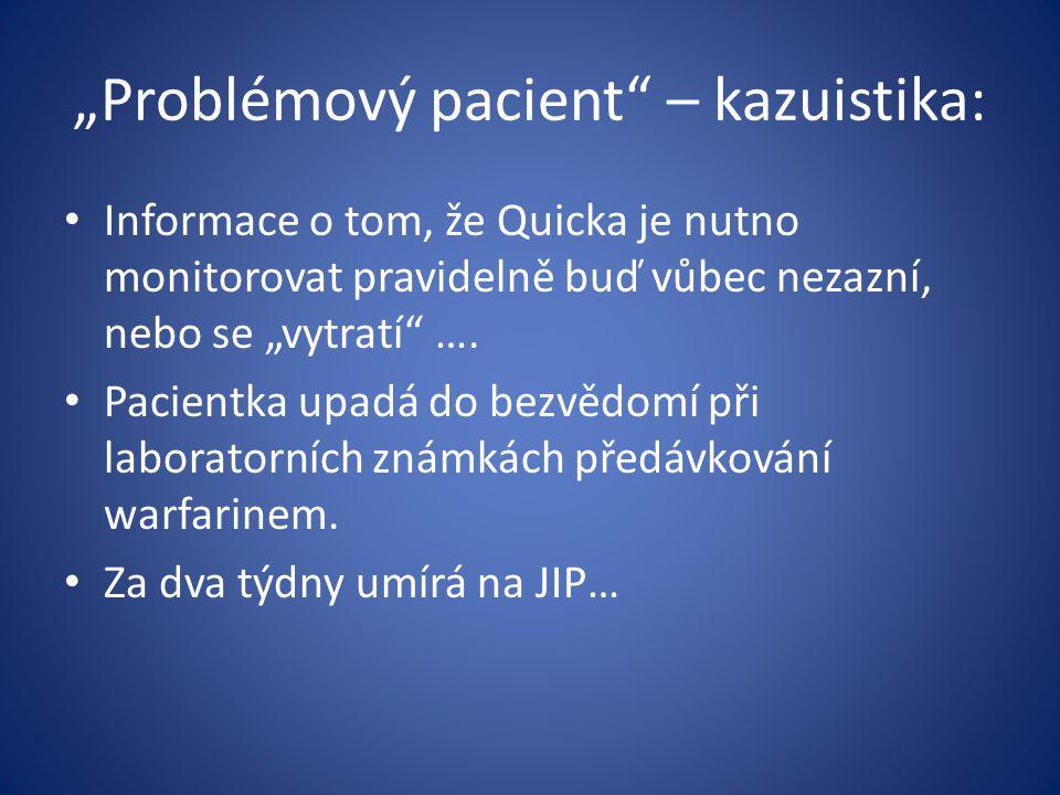 """""""Problémový pacient"""" – kazuistika: Informace o tom, že Quicka je nutno monitorovat pravidelně buď vůbec nezazní, nebo se """"vytratí"""" …. Pacientka upadá"""