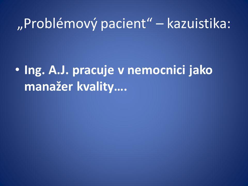 """""""Problémový pacient"""" – kazuistika: Ing. A.J. pracuje v nemocnici jako manažer kvality…."""