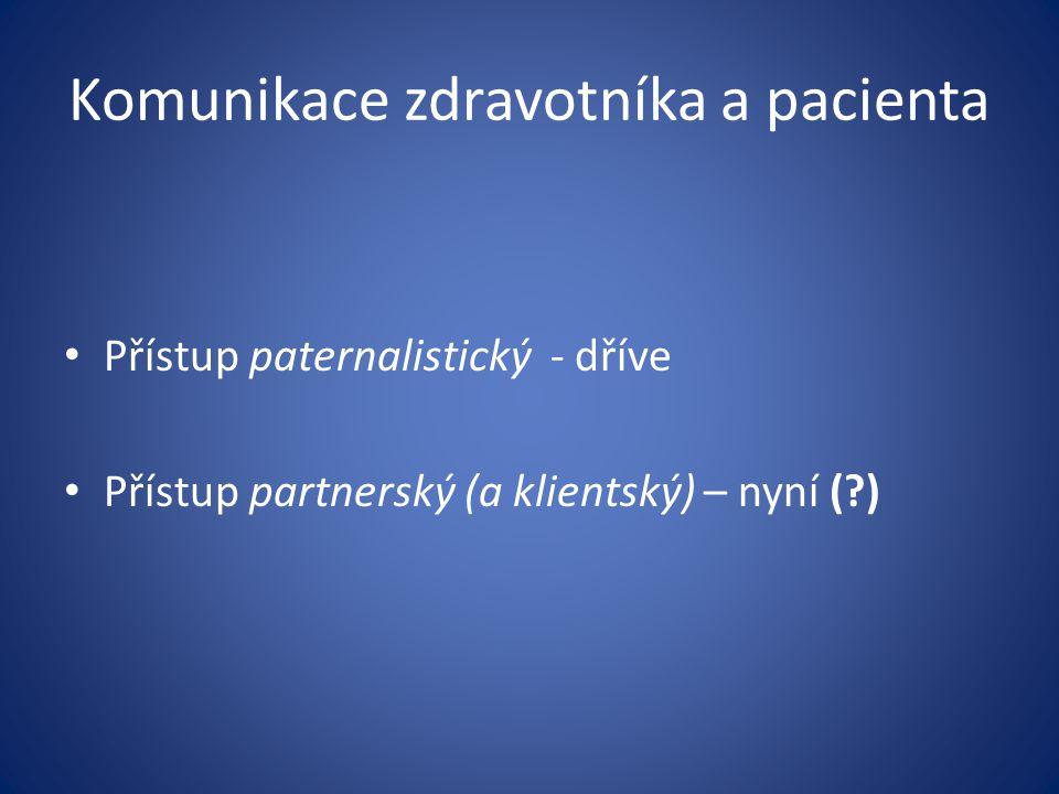 Komunikace zdravotníka a pacienta Přístup paternalistický - dříve Přístup partnerský (a klientský) – nyní (?)