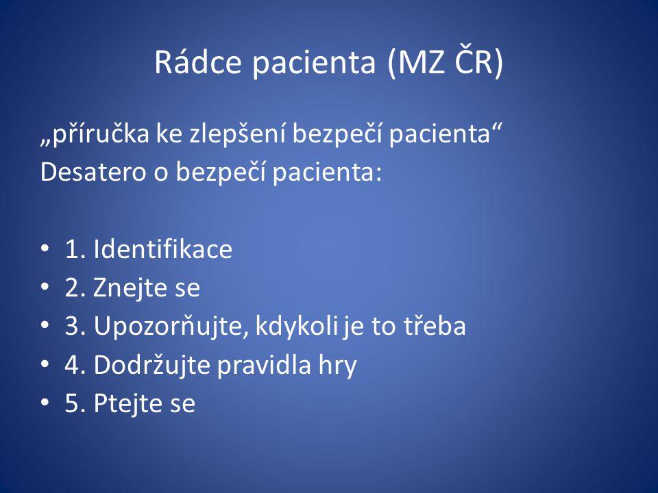 """Rádce pacienta (MZ ČR) """"příručka ke zlepšení bezpečí pacienta"""" Desatero o bezpečí pacienta: 1. Identifikace 2. Znejte se 3. Upozorňujte, kdykoli je to"""