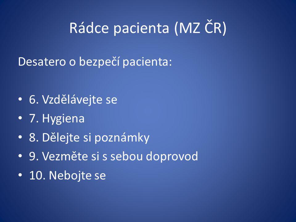 Rádce pacienta (MZ ČR) Desatero o bezpečí pacienta: 6. Vzdělávejte se 7. Hygiena 8. Dělejte si poznámky 9. Vezměte si s sebou doprovod 10. Nebojte se