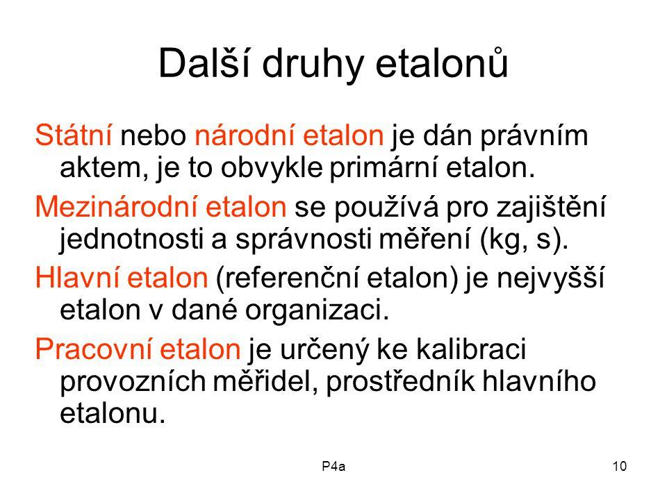 P4a10 Další druhy etalonů Státní nebo národní etalon je dán právním aktem, je to obvykle primární etalon.