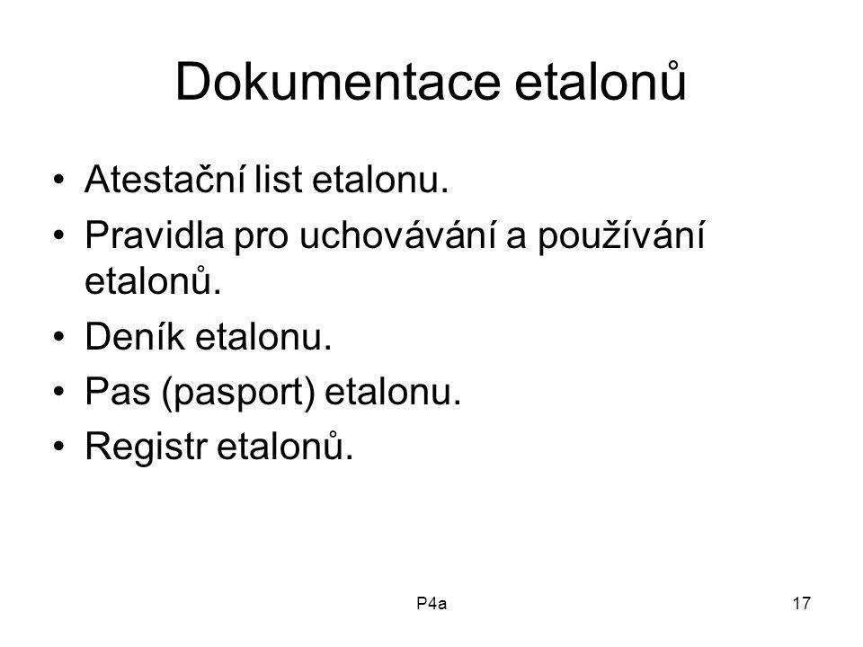 P4a17 Dokumentace etalonů Atestační list etalonu.Pravidla pro uchovávání a používání etalonů.