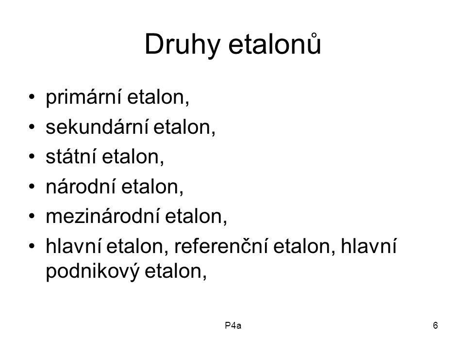 P4a6 Druhy etalonů primární etalon, sekundární etalon, státní etalon, národní etalon, mezinárodní etalon, hlavní etalon, referenční etalon, hlavní podnikový etalon,