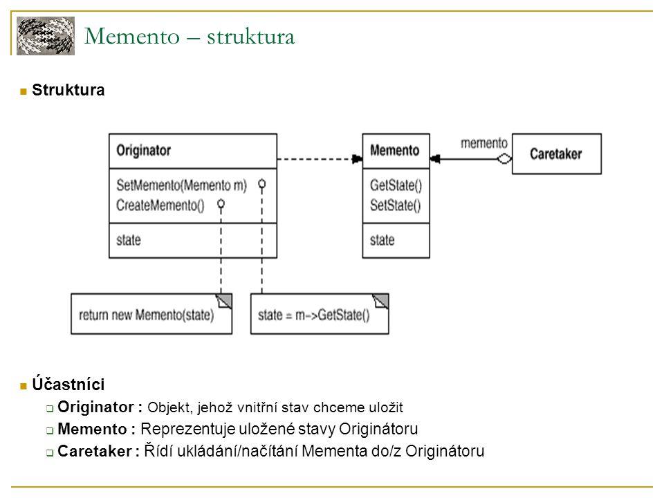 Memento – struktura Struktura Účastníci  Originator : Objekt, jehož vnitřní stav chceme uložit  Memento : Reprezentuje uložené stavy Originátoru  Caretaker : Řídí ukládání/načítání Mementa do/z Originátoru