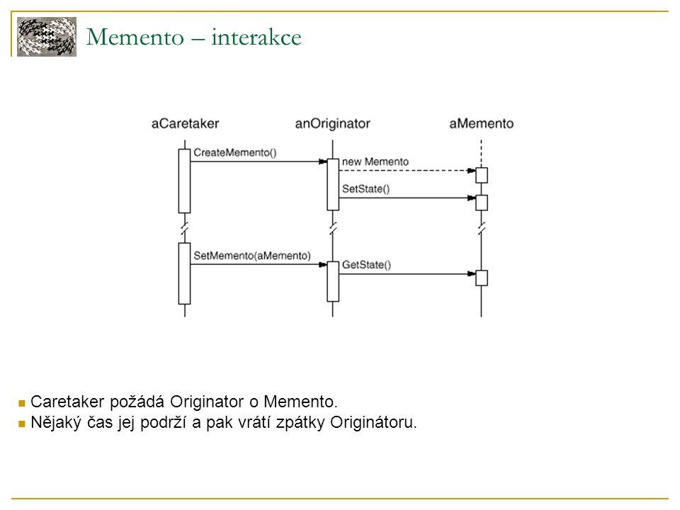 Memento – interakce Caretaker požádá Originator o Memento. Nějaký čas jej podrží a pak vrátí zpátky Originátoru.