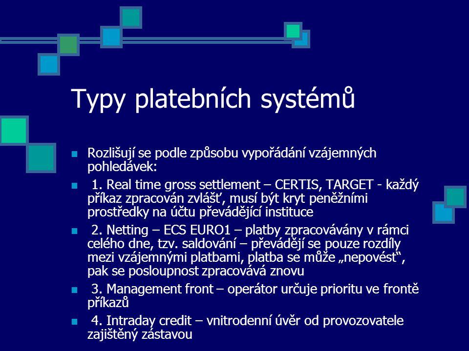 Typy platebních systémů Rozlišují se podle způsobu vypořádání vzájemných pohledávek: 1.