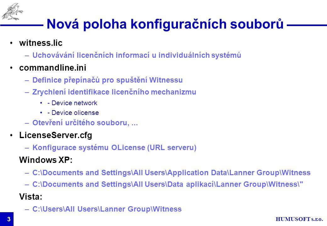 HUMUSOFT s.r.o. 3 Nová poloha konfiguračních souborů witness.lic –Uchovávání licenčních informací u individuálních systémů commandline.ini –Definice p