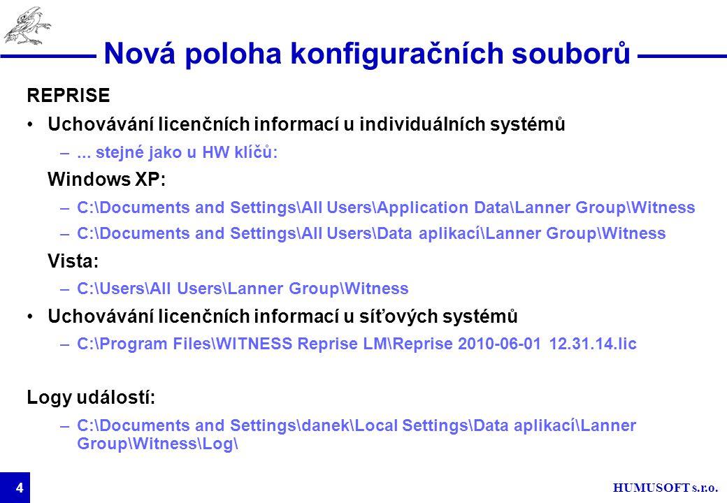 HUMUSOFT s.r.o. 4 Nová poloha konfiguračních souborů REPRISE Uchovávání licenčních informací u individuálních systémů –... stejné jako u HW klíčů: Win