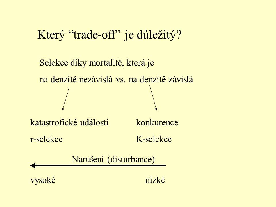 """Který """"trade-off"""" je důležitý? Selekce díky mortalitě, která je na denzitě nezávislá vs. na denzitě závislá katastrofické události r-selekce konkurenc"""
