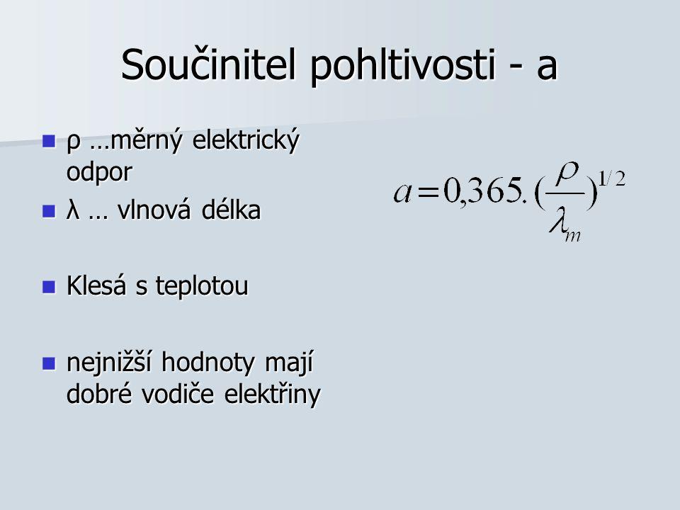 Součinitel pohltivosti - a ρ …měrný elektrický odpor ρ …měrný elektrický odpor λ … vlnová délka λ … vlnová délka Klesá s teplotou Klesá s teplotou nej