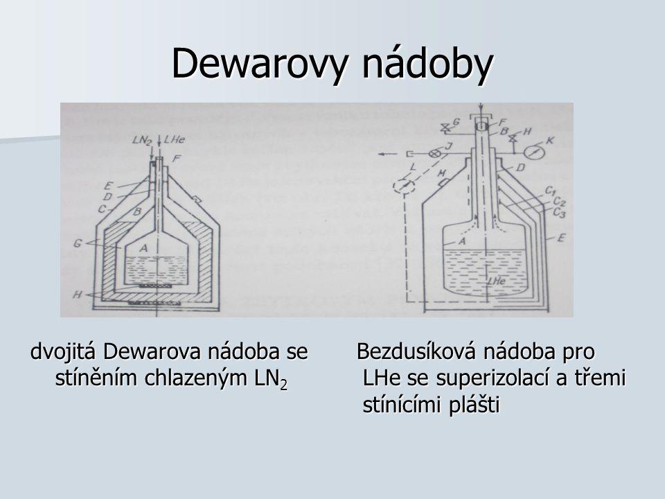 Dewarovy nádoby dvojitá Dewarova nádoba se Bezdusíková nádoba pro stíněním chlazeným LN 2 LHe se superizolací a třemi stínícími plášti
