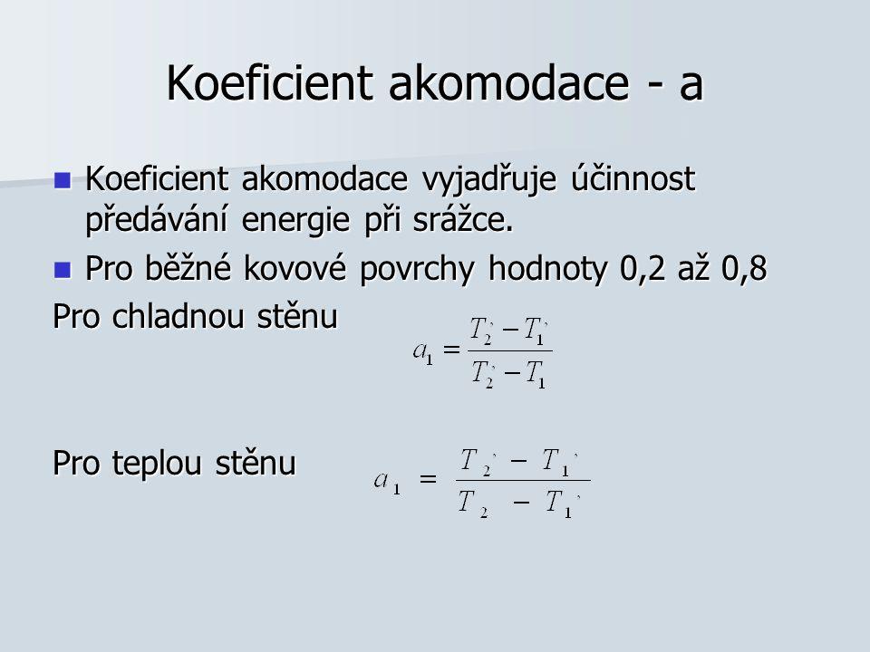 Koeficient akomodace - a Koeficient akomodace vyjadřuje účinnost předávání energie při srážce. Koeficient akomodace vyjadřuje účinnost předávání energ