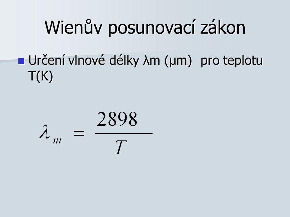 Stefanův-Boltzmanův zákon Vyjádření hustoty radiačního tepelného toku v závislosti na teplotě Vyjádření hustoty radiačního tepelného toku v závislosti na teplotě σ=5,67.10 -8 Wm -2 K -4 σ=5,67.10 -8 Wm -2 K -4