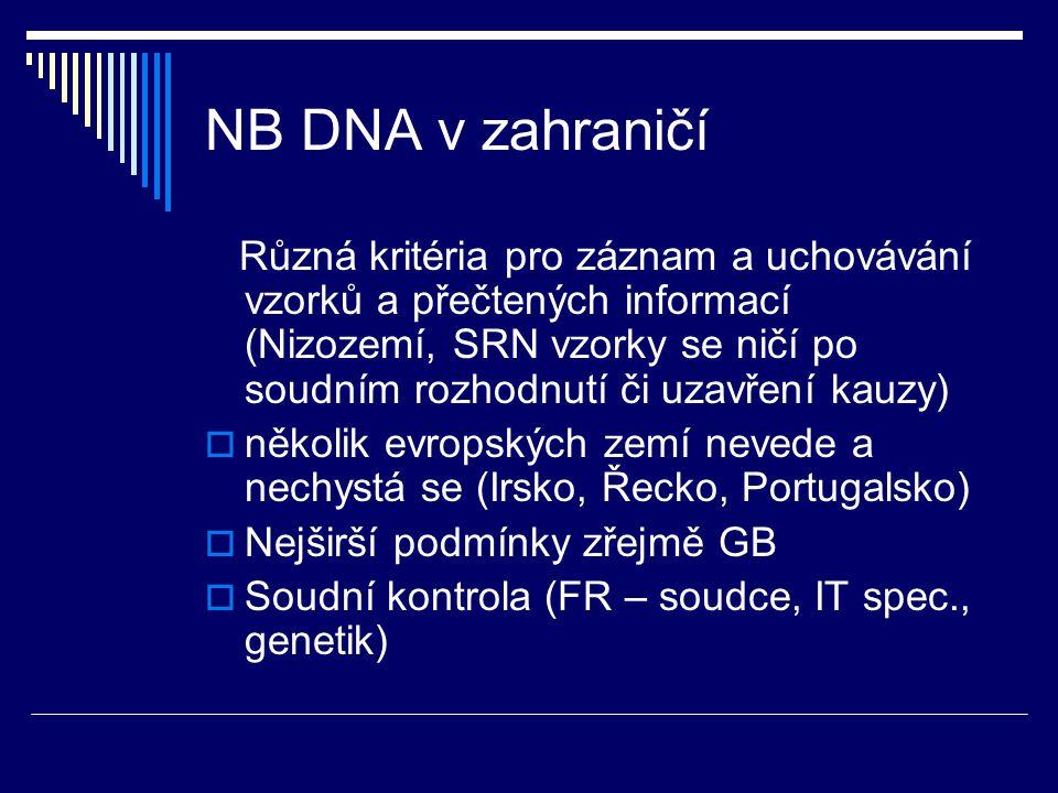 NB DNA v zahraničí Různá kritéria pro záznam a uchovávání vzorků a přečtených informací (Nizozemí, SRN vzorky se ničí po soudním rozhodnutí či uzavřen