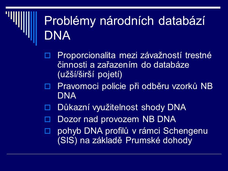 Problémy národních databází DNA  Proporcionalita mezi závažností trestné činnosti a zařazením do databáze (užší/širší pojetí)  Pravomoci policie při