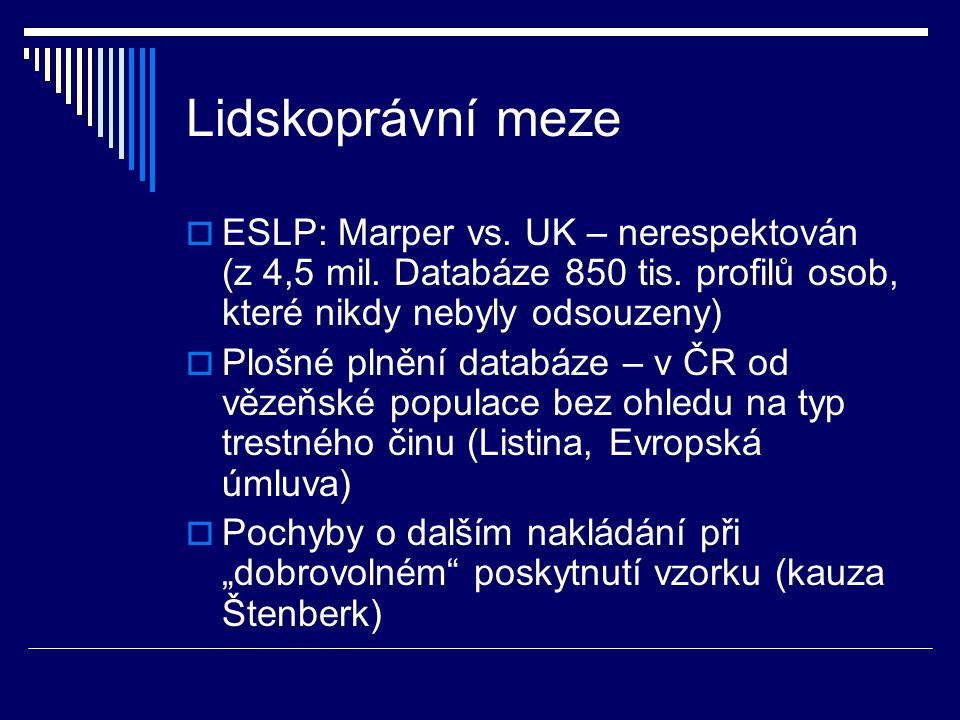 Lidskoprávní meze  ESLP: Marper vs. UK – nerespektován (z 4,5 mil. Databáze 850 tis. profilů osob, které nikdy nebyly odsouzeny)  Plošné plnění data