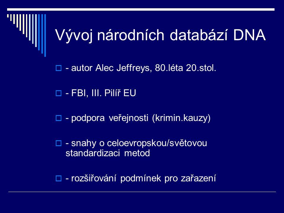 Vývoj národních databází DNA  - autor Alec Jeffreys, 80.léta 20.stol.  - FBI, III. Pilíř EU  - podpora veřejnosti (krimin.kauzy)  - snahy o celoev