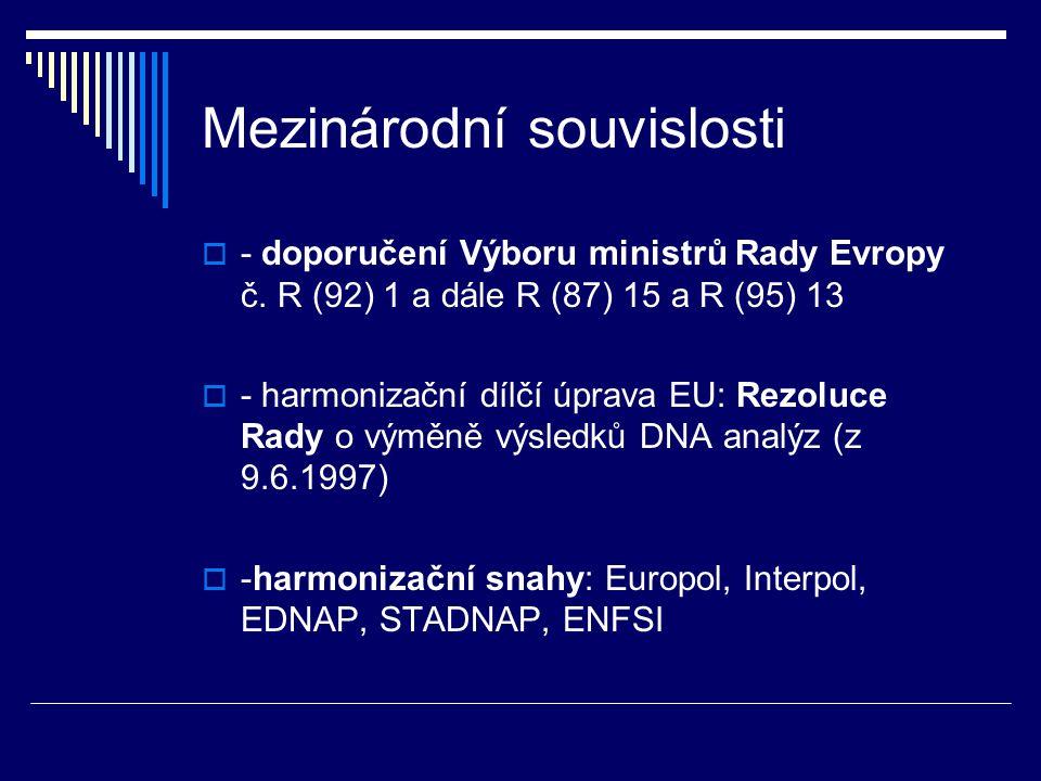 Mezinárodní souvislosti  - doporučení Výboru ministrů Rady Evropy č. R (92) 1 a dále R (87) 15 a R (95) 13  - harmonizační dílčí úprava EU: Rezoluce