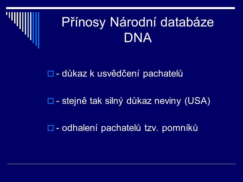Přínosy Národní databáze DNA  - důkaz k usvědčení pachatelů  - stejně tak silný důkaz neviny (USA)  - odhalení pachatelů tzv. pomníků