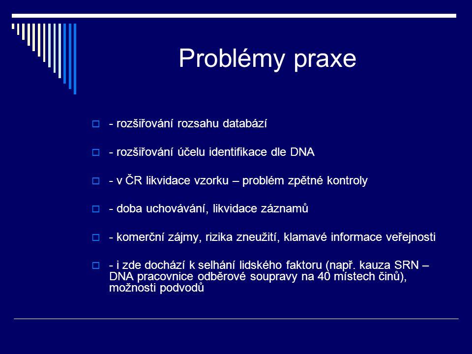 Problémy praxe  - rozšiřování rozsahu databází  - rozšiřování účelu identifikace dle DNA  - v ČR likvidace vzorku – problém zpětné kontroly  - dob