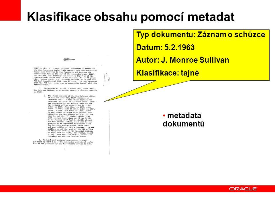 Klasifikace obsahu pomocí metadat Typ dokumentu: Záznam o schůzce Datum: 5.2.1963 Autor: J.