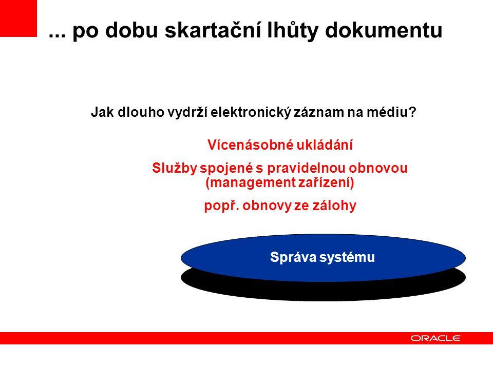 ... po dobu skartační lhůty dokumentu Médium Jak dlouho vydrží elektronický záznam na médiu.