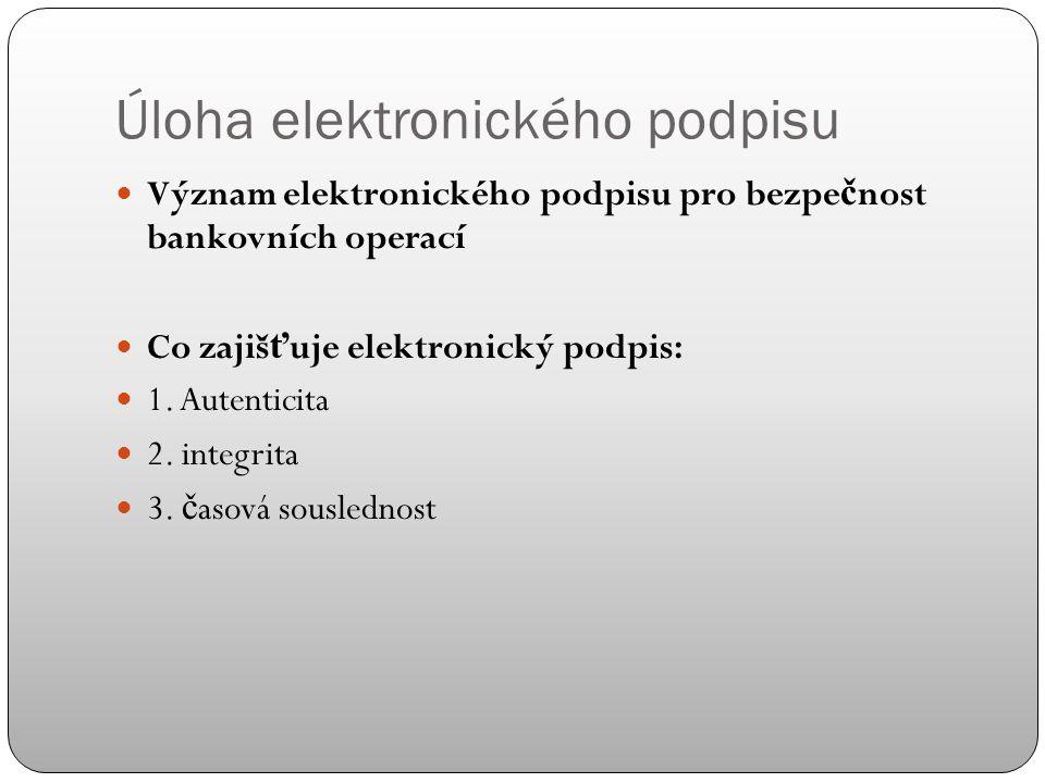 1. ověření identity Protokol SSL Prokázání identity banky certifikátem SSL Ov ěř ení identity klienta Digitální (elektronický podpis) a jeho význam Úl