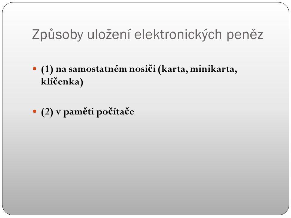 """Elektronický peněžní prostředek (podle zákona o platebním styku - § 15) = """"platební prost ř edek, který uchovává pen ě žní hodnotu v elektronické podob ě a který je p ř ijímán jako platební prost ř edek i jinými osobami než jeho vydavatelem. Rozdíl v právní úprav ě v Č R a EU (doporu č ení Komise ES č.97/489/ES; Sm ě rnice 2000/46/ES) Podle ES: pouze karty a po č íta č ová pam ěť"""