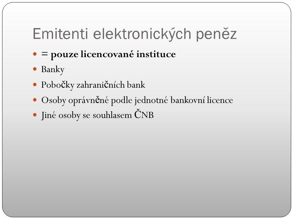 Emitenti elektronických peněz = pouze licencované instituce Banky Pobo č ky zahrani č ních bank Osoby oprávn ě né podle jednotné bankovní licence Jiné osoby se souhlasem Č NB