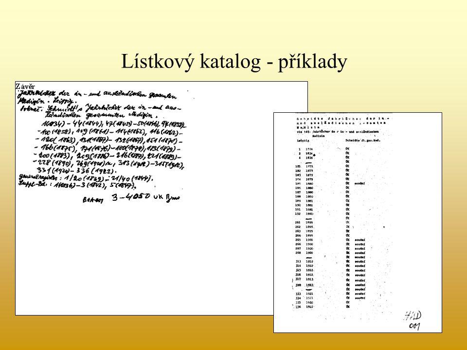 Lístkový katalog - příklady