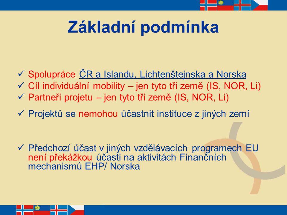 Základní podmínka Spolupráce ČR a Islandu, Lichtenštejnska a Norska Cíl individuální mobility – jen tyto tři země (IS, NOR, Li) Partneři projetu – jen