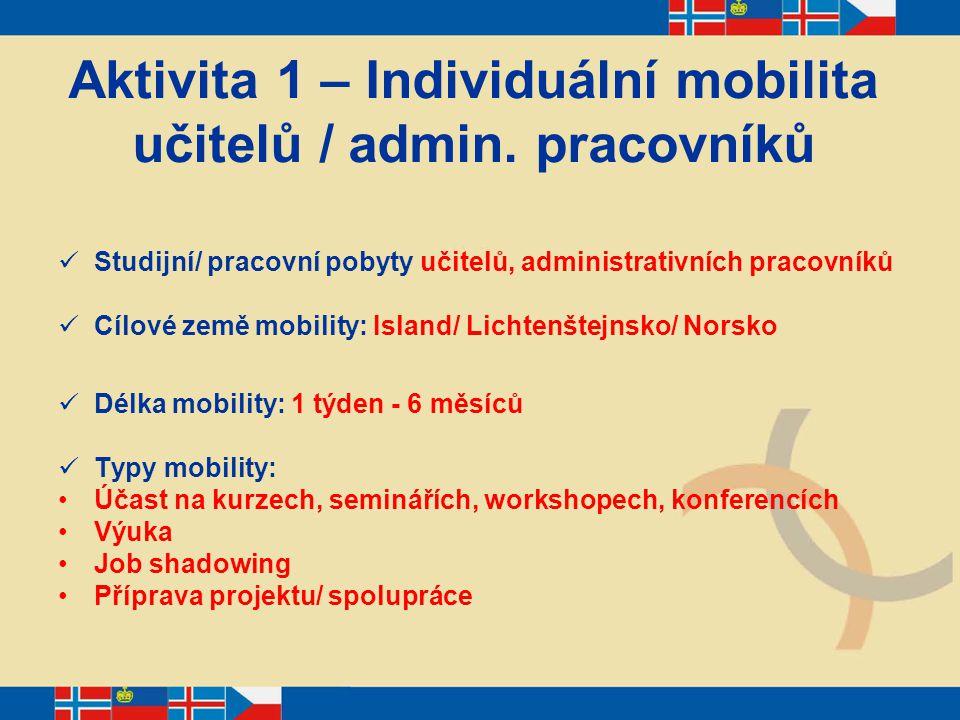 Aktivita 1 – Individuální mobilita učitelů / admin. pracovníků Studijní/ pracovní pobyty učitelů, administrativních pracovníků Cílové země mobility: I