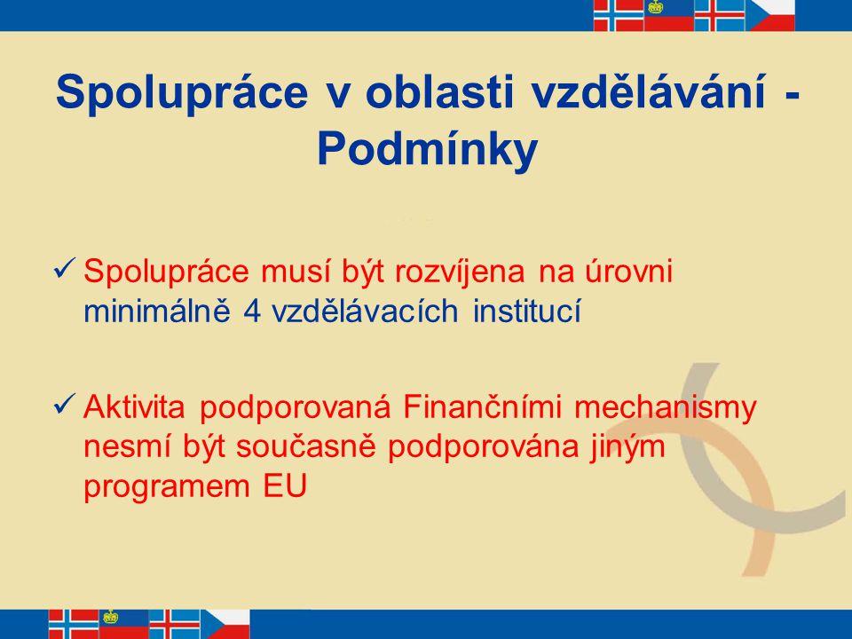 Spolupráce v oblasti vzdělávání - Podmínky Spolupráce musí být rozvíjena na úrovni minimálně 4 vzdělávacích institucí Aktivita podporovaná Finančními
