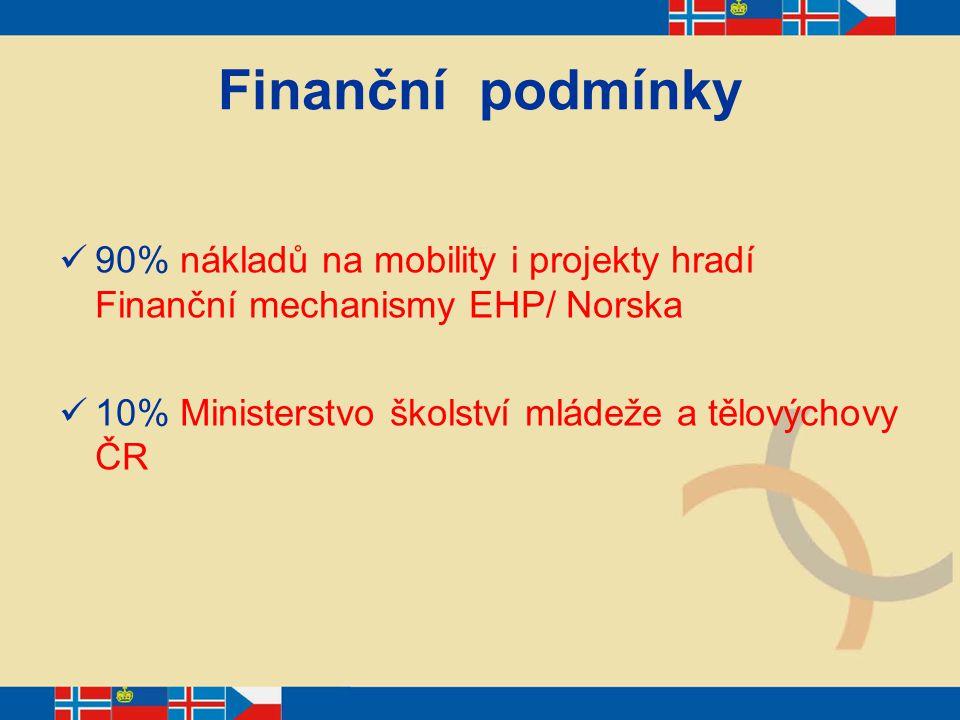 Finanční podmínky 90% nákladů na mobility i projekty hradí Finanční mechanismy EHP/ Norska 10% Ministerstvo školství mládeže a tělovýchovy ČR