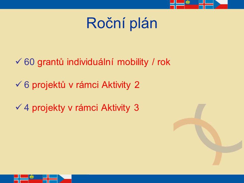 Roční plán 60 grantů individuální mobility / rok 6 projektů v rámci Aktivity 2 4 projekty v rámci Aktivity 3