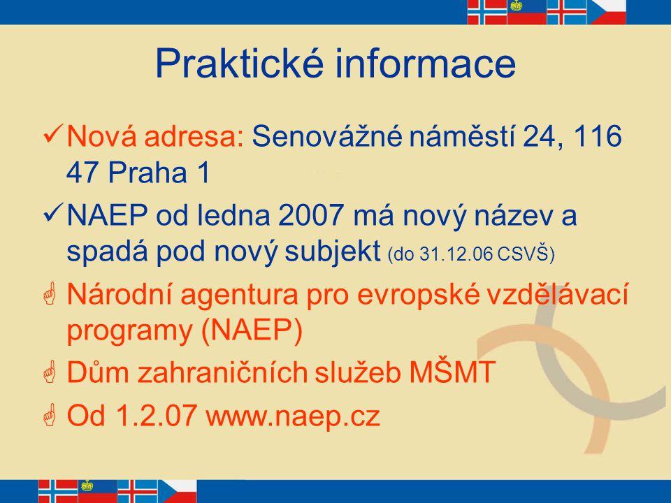 Praktické informace Nová adresa: Senovážné náměstí 24, 116 47 Praha 1 NAEP od ledna 2007 má nový název a spadá pod nový subjekt (do 31.12.06 CSVŠ)  N