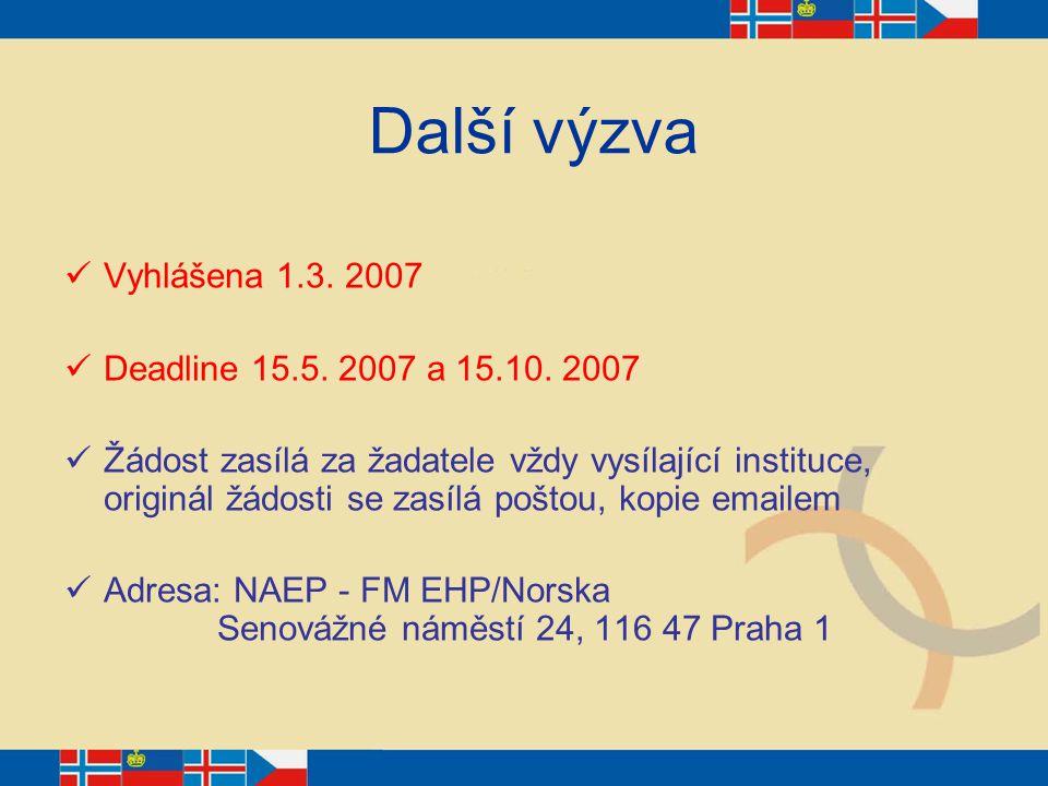 Další výzva Vyhlášena 1.3. 2007 Deadline 15.5. 2007 a 15.10. 2007 Žádost zasílá za žadatele vždy vysílající instituce, originál žádosti se zasílá pošt