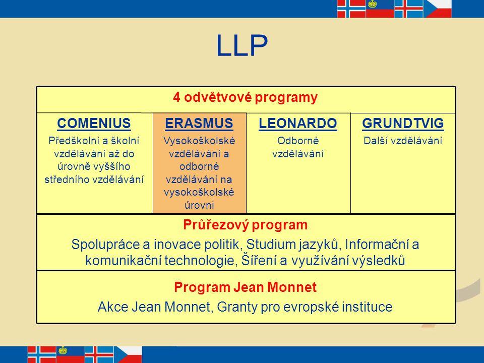 LLP 4 odvětvové programy Program Jean Monnet Akce Jean Monnet, Granty pro evropské instituce Průřezový program Spolupráce a inovace politik, Studium j