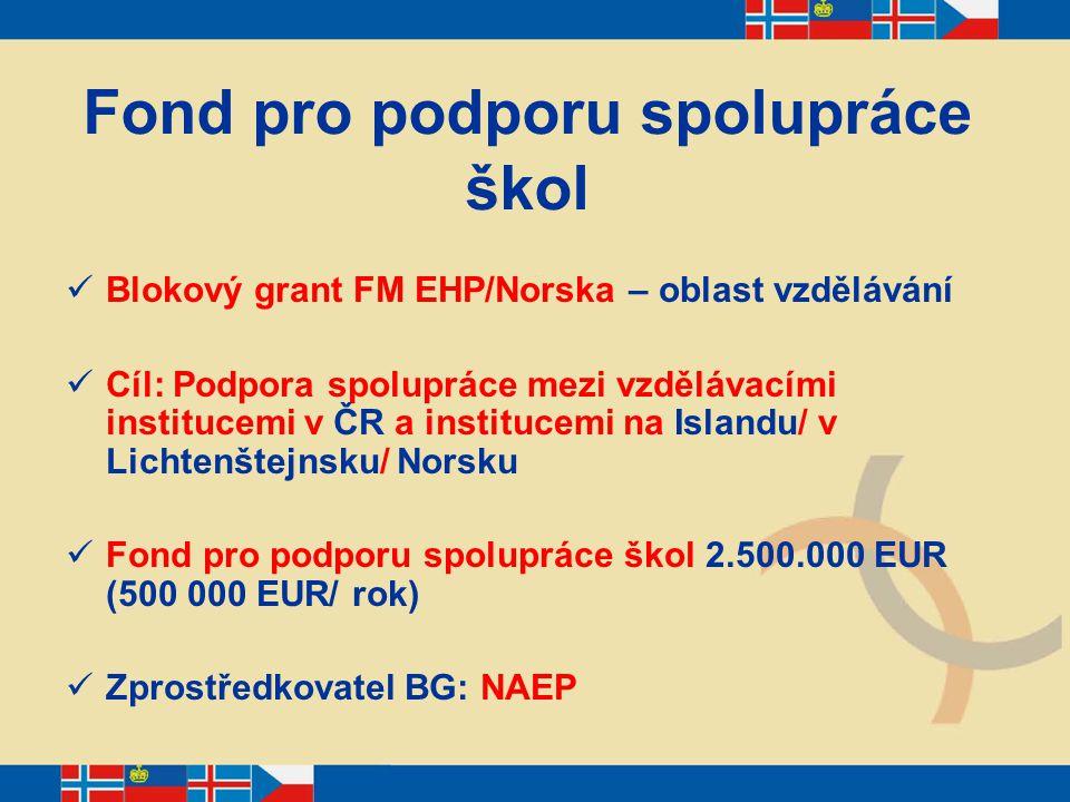 Fond pro podporu spolupráce škol Blokový grant FM EHP/Norska – oblast vzdělávání Cíl: Podpora spolupráce mezi vzdělávacími institucemi v ČR a instituc