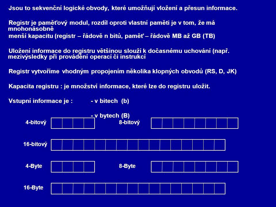 Rozdělení registrů dle stavu informace - paměťové (RS, D, JK) 4-bitový paměťový registr D0D0 D1D1 D2D2 D3D3 Q0Q0 Q1Q1 Q2Q2 Q3Q3 - posuvné - jednosměrné D Q Q b1b1 b2b2 b3b3 b4b4 b n-1 bnbn....