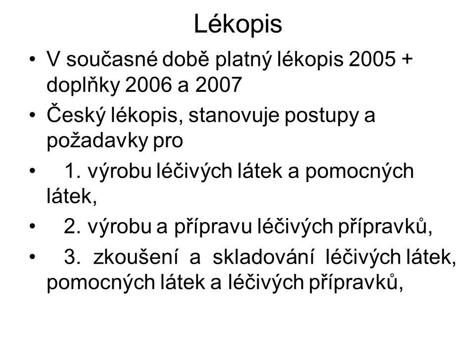 Lékopis V současné době platný lékopis 2005 + doplňky 2006 a 2007 Český lékopis, stanovuje postupy a požadavky pro 1. výrobu léčivých látek a pomocnýc